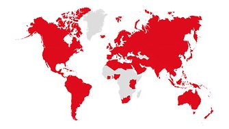 World map in grey showing in red the countries where Henkel is represented